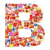 Carta de B hecha de giftboxes Fotos de archivo libres de regalías