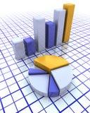 carta de barra 3D y gráfico de sectores Imagenes de archivo