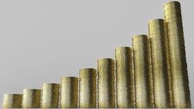 Carta de barra crescente feita de pilhas da moeda Sucesso comercial ou rendição 3D conceptual crescente das economias Fotografia de Stock