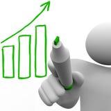 Carta de barra del crecimiento del gráfico a bordo Imagen de archivo