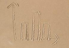 Carta de barra dibujada en la arena Imágenes de archivo libres de regalías
