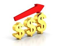 Carta de barra do dólar do negócio com seta crescente Imagens de Stock