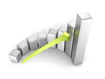 Carta de barra do sucesso comercial com a seta no fundo branco Fotografia de Stock