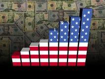 Carta de barra de la bandera americana sobre el ejemplo de los dólares Foto de archivo libre de regalías
