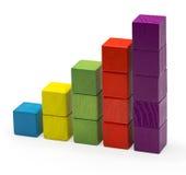 Carta de blocos de Infographic, crescimento da barra da pilha, Toy Bricks Isolated Fotografia de Stock Royalty Free