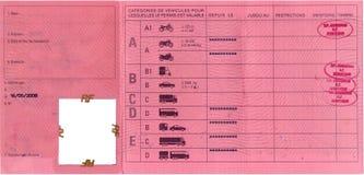 Carta de condução francesa Fotografia de Stock