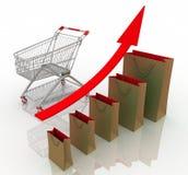Carta de crecimiento de las ventas Imágenes de archivo libres de regalías