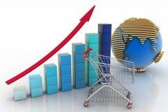 Carta de crecimiento de las ventas Fotografía de archivo libre de regalías
