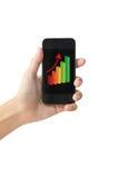 Carta de crecimiento del éxito en el teléfono elegante de la pantalla táctil. imagen de archivo libre de regalías