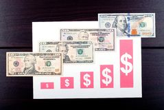 Carta de crescimento com notas de dólar Fotos de Stock Royalty Free