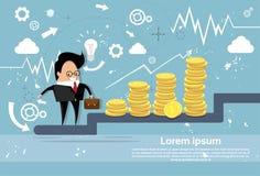 Carta de crescimento do homem de negócio do sucesso de Climb Stairs Financial do homem de negócios ilustração royalty free