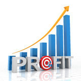 A carta de crescimento do lucro do alvo, 3d rende Imagens de Stock Royalty Free