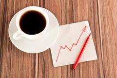 Carta de crescimento em um guardanapo Imagens de Stock Royalty Free