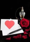 Carta de día de la tarjeta del día de San Valentín perfumada imagen de archivo libre de regalías