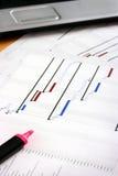 Carta de Gantt de las hojas de operación (planning) de proyecto Fotos de archivo libres de regalías