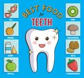 Carta de Infographic para dental y la atención sanitaria Muestra los mejores productos alimenticios para los dientes, las gomas y Ilustración del Vector