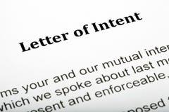 Carta de intenções Fotografia de Stock Royalty Free
