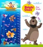 Carta de la altura de los niños con los pescados y el oso de la historieta Fotos de archivo libres de regalías