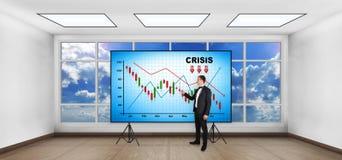 Carta de la crisis en la pantalla Foto de archivo libre de regalías
