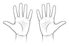 Carta de la quiromancia de las palmas Fotografía de archivo libre de regalías