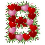 Carta de la tarjeta del día de San Valentín de la letra B ilustración del vector