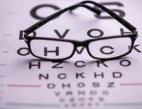 Carta de la visión del ojo con los vidrios imágenes de archivo libres de regalías