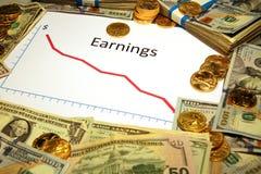 Carta de las ganancias que caen abajo con el dinero y el oro Foto de archivo libre de regalías