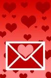 Carta de las tarjetas del día de San Valentín Fotos de archivo