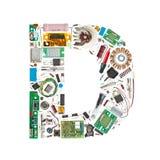 Carta de los componentes electrónicos Imagen de archivo libre de regalías