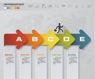 Carta de negocio abstracta Diagrama de flecha de 5 pasos Idea gradual stock de ilustración
