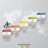 Carta de negocio abstracta 5 pasos diagram la plantilla/el gráfico o la disposición del sitio web Vector Foto de archivo libre de regalías