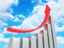 Carta de negocio del éxito con el levantamiento encima de flecha en fondo del cielo stock de ilustración