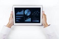 Carta de negocio en la pantalla digital 1 de la tableta Imágenes de archivo libres de regalías