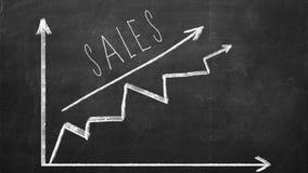 Carta de negocio en la pizarra que muestra aumento en ventas Foto de archivo