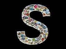 Carta de S - collage de las fotos del recorrido Imagen de archivo libre de regalías