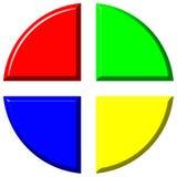 carta de torta 3d colorida com quatro parcelas iguais Foto de Stock