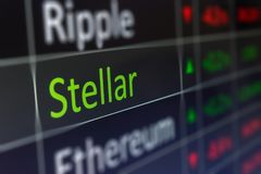 Carta de troca cripto da moeda estelar para comprar e vender XLM f foto de stock