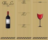 Carta de vinos Imagen de archivo libre de regalías