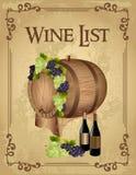 Carta de vinos Imagenes de archivo
