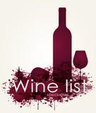 Carta de vinos con los vinos rojos Foto de archivo