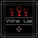 Carta de vinos con tres vidrios Fotos de archivo libres de regalías