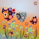 Carta decorativa con i tulipani e le margherite astratti illustrazione di stock