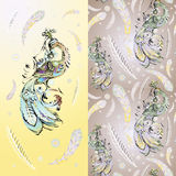 Carta decorativa con il firebird in corona illustrazione di stock