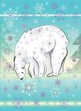 Carta decorativa con l'orso polare bianco illustrazione vettoriale