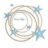 Carta decorativa del mare con le stelle marine Immagine Stock