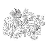 Carta decorativa di progettazione di scarabocchi di vettore Di nuovo a Immagine Stock