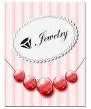 Carta dei gioielli con le perle di vetro rosse Immagine Stock Libera da Diritti