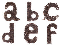 Carta del alfabeto hecha de los granos de café Fotografía de archivo