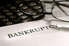 Carta del aviso de la bancarrota Foto de archivo