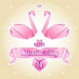 Carta del biglietto di S. Valentino, cigno di origami, gru di carta illustrazione di stock